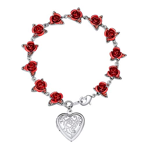U7 Women Girls Heart Locket Charm Bracelet Platinum Plated Link Red Rose Flower Chain Bracelets, Wedding/Memorial Gift for Her