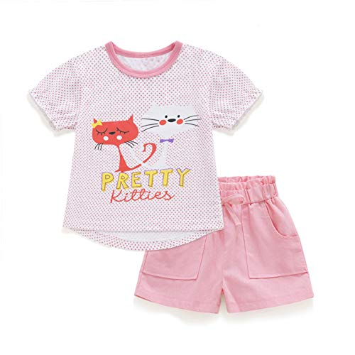 Neeseelily Toddler Baby Girls Summer Cotton 2PC Clothes Set Cat Print Top + Short Pants Outfits Sets (18-24 Months, Pink)