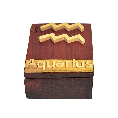 South Asia Trading Handmade Wooden Art Intarsia Trick Secret Aquarius Zodiac Horoscope 1 Jewelry Puzzle Trinket Box (4520) (g3)