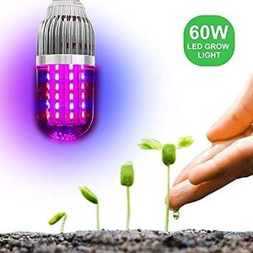 YUN Grow Light@ LED Cultivo Lámpara De Plantas 60W E27 Bombilla con Luz Roja De Bule ...