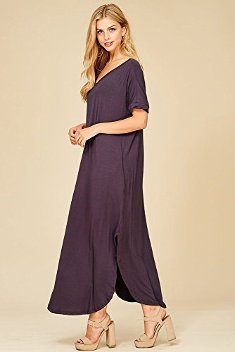 Sleeve Casual Loose Pockets Short Neck V Beach Maxi Women's Slate Dress Split Long wXxOTqIz