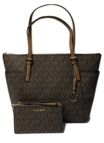 MICHAEL Michael Kors Large East West TZ Tote bundled with Michael Kors Jet Set Travel Double Zip Wallet Wristlet (Signature Brown MK) by Michael Kors