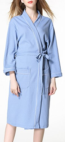 FLYCHEN Mujer Algodón Batas y kimonos Suave Albornoz Estilo Gofre Cruzado Ropa Azur