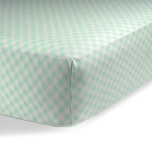 Fitted Knit Crib Sheet - Best Crib Sheet for Baby - Infant   Toddler 100% Cotton Jersey Knit Deep Fitted Bed Sheet (24 X 38 (MINI CRIB), Checked Green)