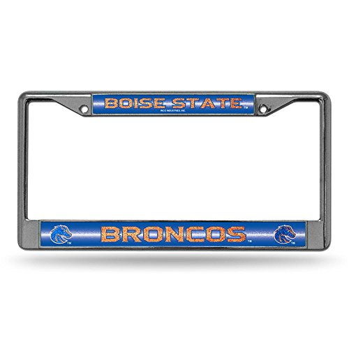 Rico NCAA Boise State Broncos Bling Chrome License Plate Frame with Glitter Accent (Broncos Basketball Boise State)