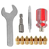 Pack of 7 Nozzles + 4 DIY Tools 3D Printer Nozzle UM2 Nozzle Tool for Nozzle replacement, Spanner, Installation tools
