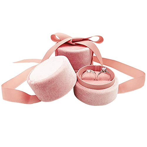 Bearda Double Ring Box - Cute Small Pink Velvet Round Ring Earring Jewelry Storage Organizer Gift Box with Elegant Silk Bow for Wedding, Engagement, Birthday, Christmas, Anniversary (Double Ring Box)