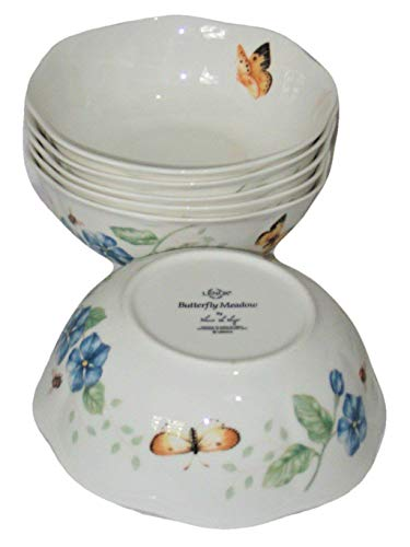 Lenox Butterfly Meadow 6 1/4 x 3 Inch Cereal Soup Bowls, Scalloped Edge, Set of 6