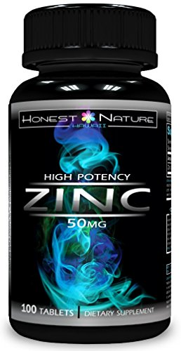 Zinc Supplement - Zinc 50mg High Potency - Zinc Oxide / Citrate - 100 count - 3 month supply - Made in the USA by Honest Nature Hawaii