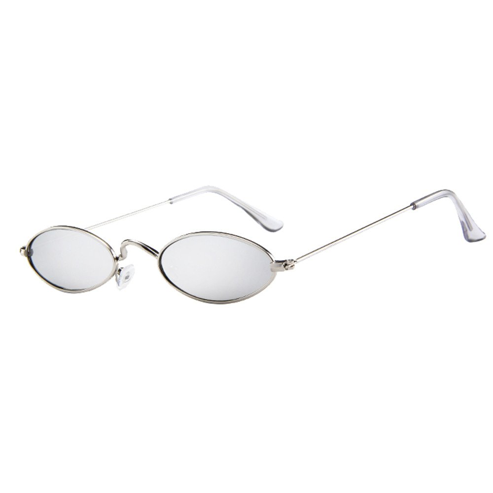 Mens Womens Retro Small Oval Sunglasses TANGSen Metal Unisex Fashion Frame Shades Eyewear Vintage Glasses(G,One Size)