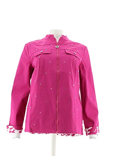 Quacker Factory Print-to-Solid Reversible Woven Jacket, used for sale  Delivered anywhere in USA