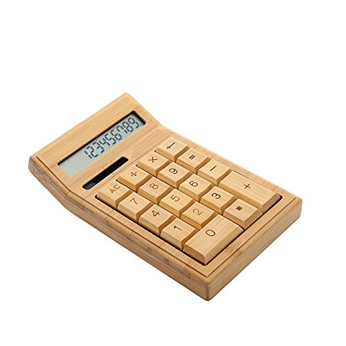 Aibecy Eco-friendly Bamboo Electronic Calculator Counter Standard Function 12 Digits Solar & Battery Dual Powered for Home Office School Retail Store