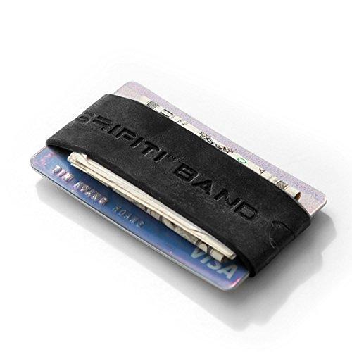 GRIFITI Band Pocket Wallet Super Slim Profile Colorful Silicone Improved Broccoli Band for Cards, License, Cash (Horizontal, Black)