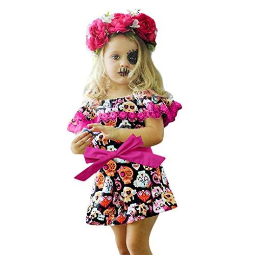 Price comparison product image Hunzed Halloween Ruffles Dress Clothes, Baby Girls Cartoon Pumpkin Off Shoulder Dress (12M, Multicolor)