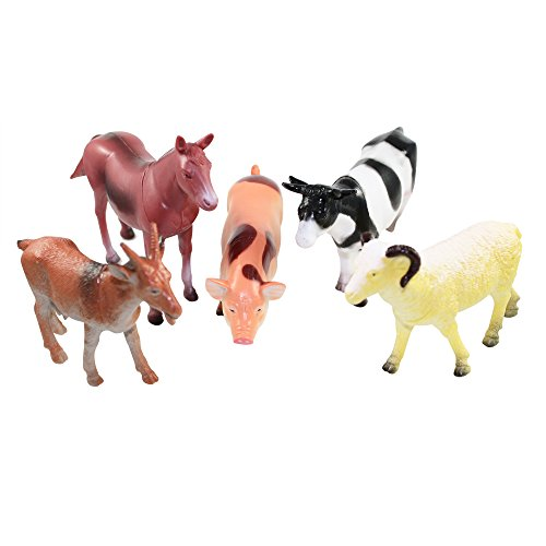 Farm Figurine - Farm Animal Toys Set of 5 - Horse, Cow, Pig, Goat & Sheep - Toddler, Children, Kids Play Time Plastic Figurines Great Party Supplies or Favors by Smarterbuy Toys