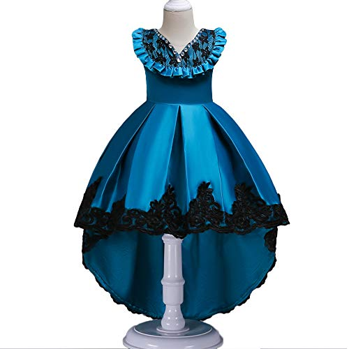 (HUANQIUE Girls Pageant Flower Girl Bridesmaid Dress Hi-Low Ball Party Gowns PeacockBlue 10-11 Years)