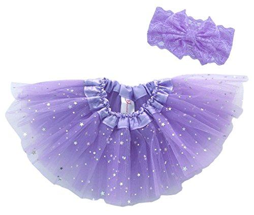Dancina Tutu Headband Set Birthday Sparkly Skirt Lace Flower Bandeu 6-24 months Lavender Glitter (Big Poofy Dresses)