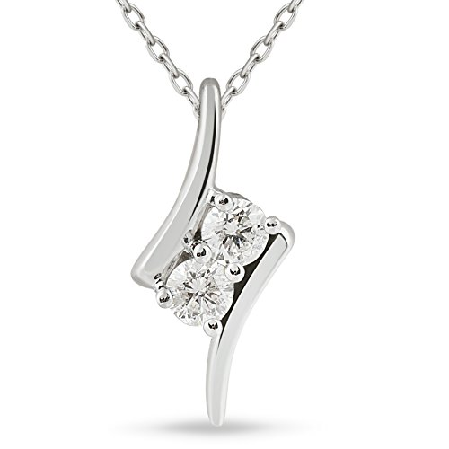 3/8ct Two Stone Diamond Forever Us Solitaire Pendant 14k White Gold 18