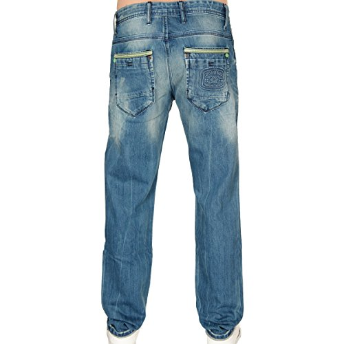 Cipo & Baxx Herren Green Like Me Slim Fit Jeans Pant Hose Denim blau W36 L32
