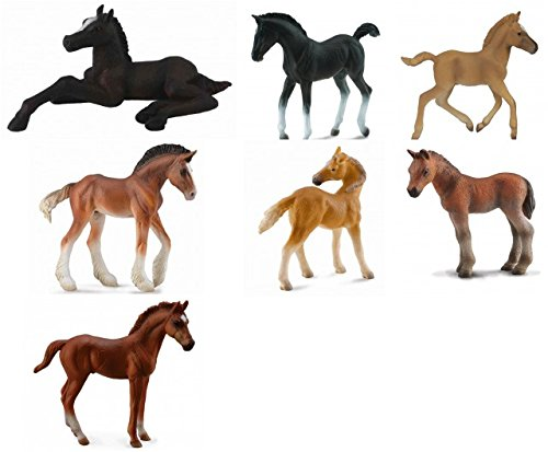 CollectA Realistic Set of 7 Horse Foals, Includes Thoroughbred, Hafling, Tennessee Walker, Clydesdale and Lippizaner (Clydesdale Foal)