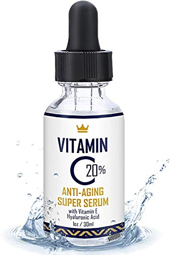 Vitamin C Serum for Face 1oz - 20% Vitamin C Super Serum with Hyaluronic Acid and Vitamin E - USA Made Anti-Aging and Hydrating Facial Serum - Best Anti Wrinkle Solution for Younger and Brighter Skin