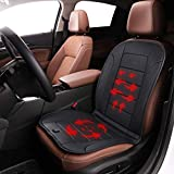 TISHIJIE Leather Heated Seat Cushion with Wireless Intelligence Temperature Controller, Automatic Power On/Off - Car Seat, Office Chair and Home Universal (12V, Black)