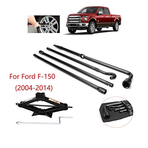 (Fit for Ford 2004-2014 F150 Spare Tire Tool Kit Lug Wrench Tool Tire Repair Set 4 Pieces with 2 Tonne(4000lb) Heavy Duty Scissor Jack Rust-Resistant for Car )