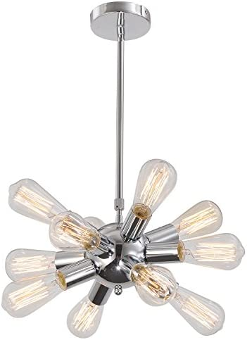 Unitary Brand Silvery Modern Metal Hanging Ceiling Chandelier with 12 Lights Chrome Finish