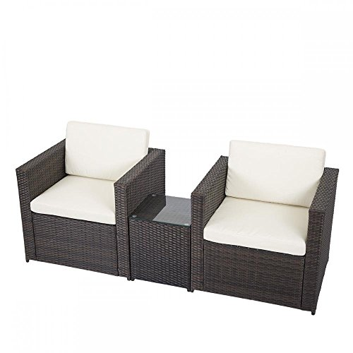 3 PCS Outdoor Patio Sofa Set Sectional Furniture PE Wicker Rattan Deck Couch