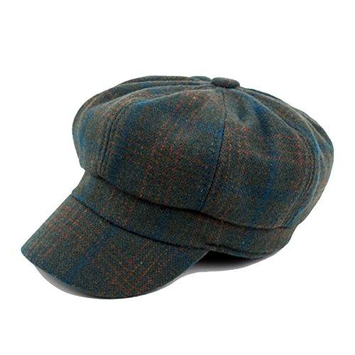 ZLSLZ Womens Faux Woolen Plaid IVY newsboy Cabbie Gatsby Painter Octagonal Hat Cap Green by ZLSLZ