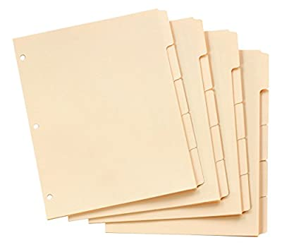 Oxford Blank Write-On Tab Dividers for Binders, Three-Hole Punched Index, 5-Tab, Manila, Box of 100 (13V)