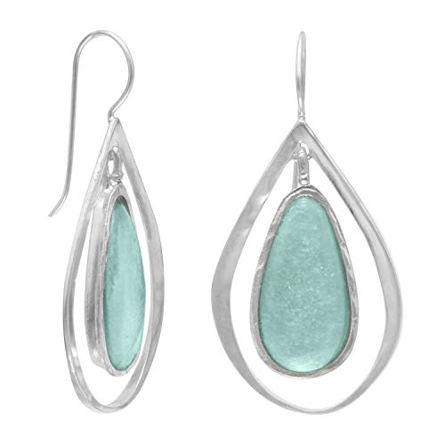 Ancient Roman Glass and Cut Out Design Earrings on French Wire Fashion Earrings Womens Sterling -