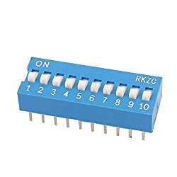 uxcell 2.54mm Pitch 20 Terminals 10 Positions Ways Slide Type DIP Switch Blue