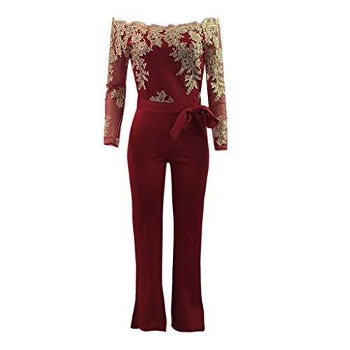 (LiLiMeng 2019 New Women Ladies Casual Lace Off Shoulder Lace Up Bow Belt Jumpsuit Playsuit Wide Leg Loose Romper Pants Red)