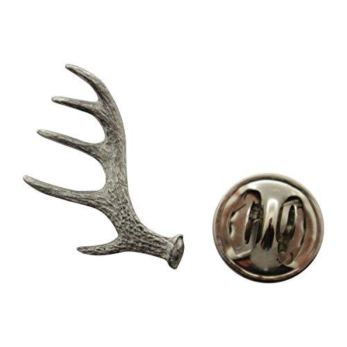 Antler Shed Mini Pin ~ Antiqued Pewter ~ Miniature Lapel Pin ~ Sarah's Treats & Treasures