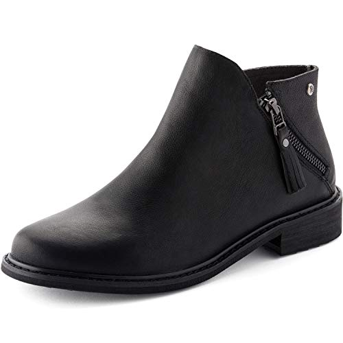 Parfeying Ankle Boots, Waterproof Booties, Non-Slip Rubber Sole, Casual Shoes, Pig Leather Lining (L10130, Black, US 5)