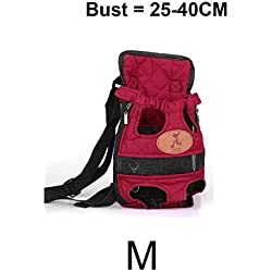 Portable Dog Carrier Travel Dog Backpack Red Breathable Pet Frount Shoulder Bag Mesh Backpack With Dual Shoulders Straps (Size M)