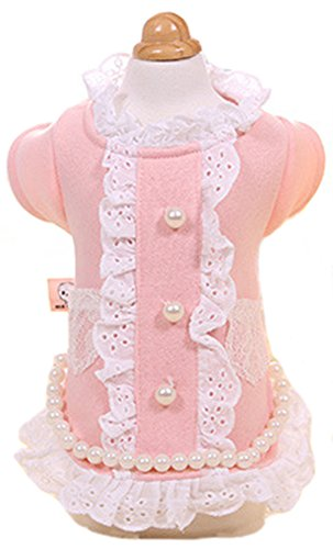 MaruPet New Autumn/Winter Two-leg Coat with Lace Pockets and Pearls Cute Bottons for Teddy Pink L 2017