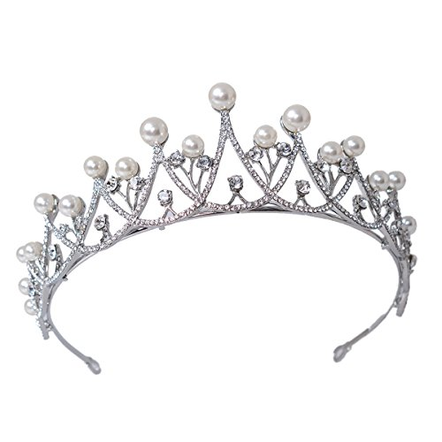 Eseres Pearl Wedding Tiara for Women Crystal Rhinestones Crown Silver Plated ()