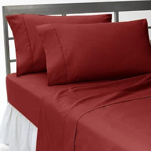 Burgundy Striped 6PCs Bed Sheet Set 1200 Thread Count Egyptian Cotton All Sizes