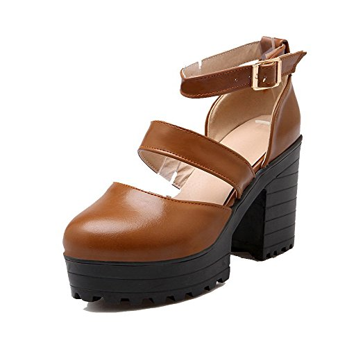 Odomolor Women's Buckle PU High-Heels Round-Toe Solid Pumps-Shoes, Brown, 36