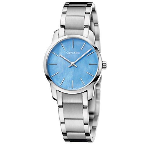Calvin Klein Women's Silver Blue Quartz Watch CK City K2G2314X