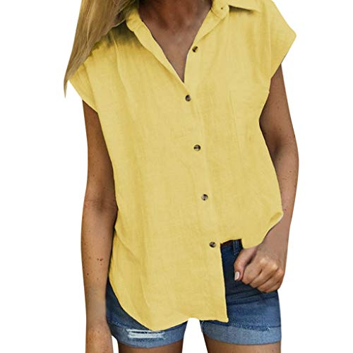(NEEKEY Women's Shirt, Fashion Solid Color Casual Loose Cotton Button Short-Sleeved Tops T-Shirt(Large,Yellow))
