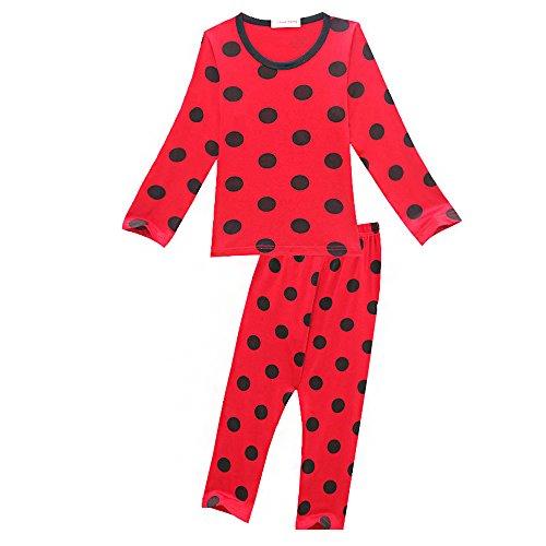 KINOMOTO Lady Bug Pajamas Girls Marinette Cosplay Coetume Two-Piece Outfit