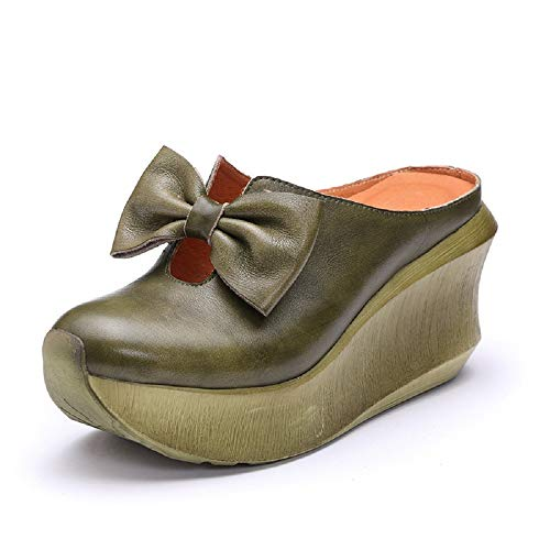 Cuir Chaussures coloré Vintage Plateforme En Taille Vert Dos Eu Jane Zhrui 38 Bowknot Mary Avec Vert Nu qw0BTB
