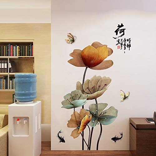 Wall Sticker SoungNerly Creative Simple Living Room Wall Decoration Chinese Lotus Waterproof Wall Wallpaper Warm Wallpaper Room self-Adhesive Paper -