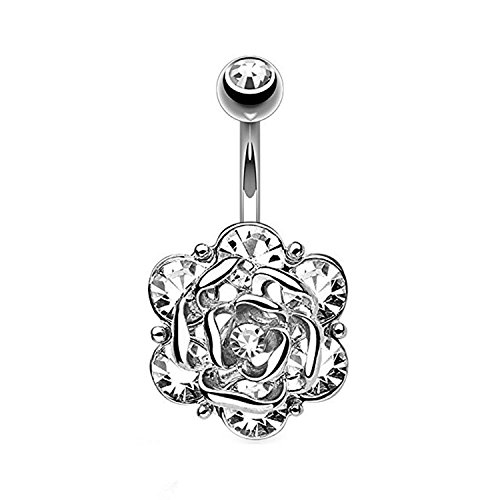 CABBE KALLO Belly Button Rings 14G Opal Jeweled Flower 316L Surgical Steel Navel Body Piercing Jewelry (Style-B/Silvertone)