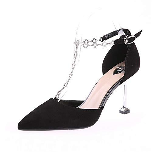 singole e punta scarpe YMFIE a Scarpe tacchi scamosciata autunno da banchetto cava strass A europee spillo a primavera pxaXFqx