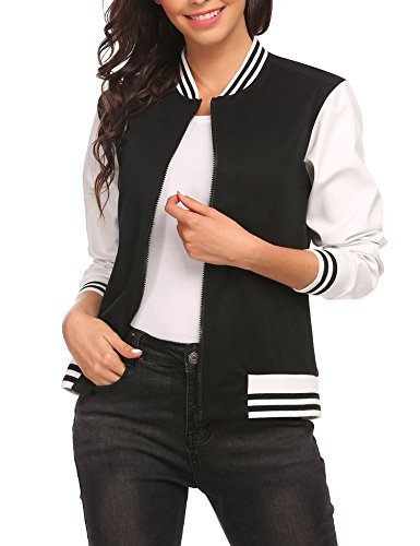 Leather Bomber Style Jacket (OD'lover Short Slim Fit Varsity Bomber Jacket For Women)