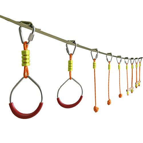 Pellor Slackline Swinging Monkey Bar Obstacle Course Set - Bars, Fists, Gymnastics Rings (7 Obstacles)